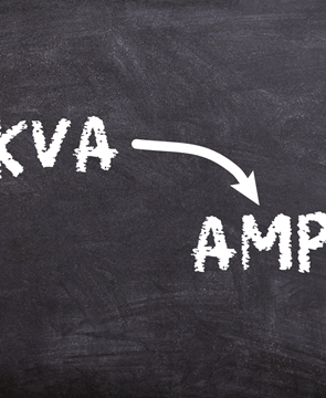 KVA to Amps written on a chalkboard