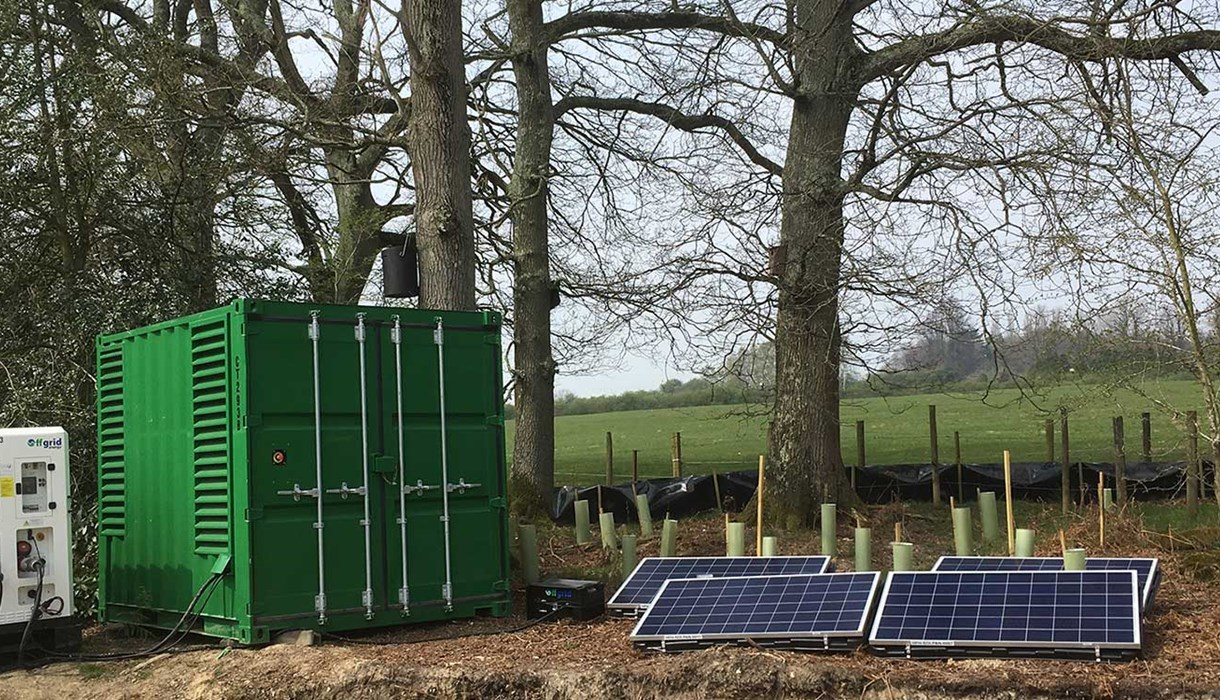 A hybrid generator connected to solar panels