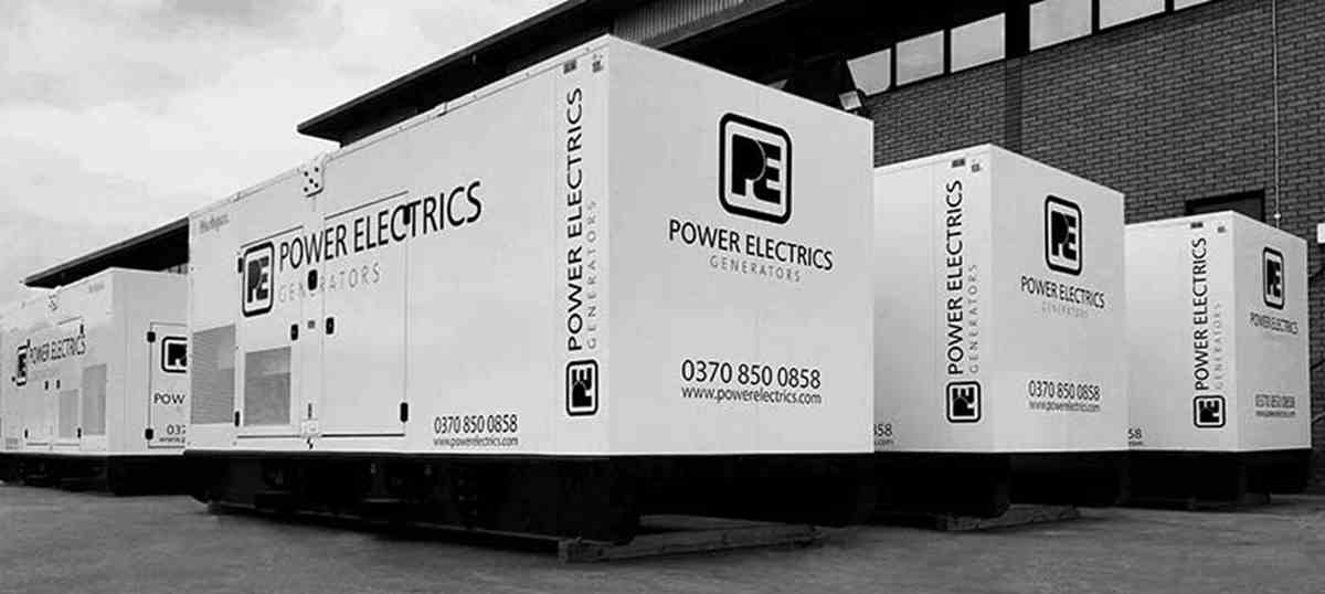 Power Electrics generators lined up in black and white
