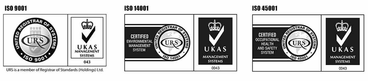 ISO 9001, ISO 14001 and ISO 45001 accreditations