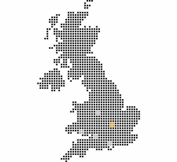 A map of the UK with Power Electrics depot locations highlighted