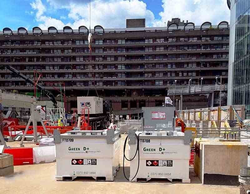 Two generators in front of 21 Moorfields