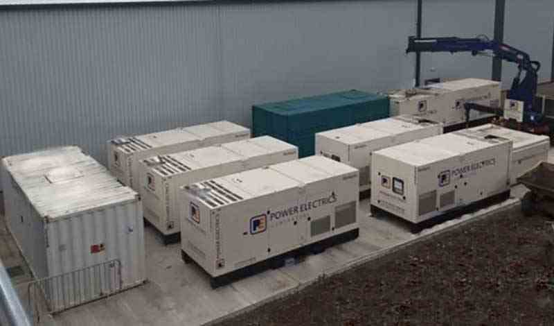 Birds eye view of Power Electrics generators lined up